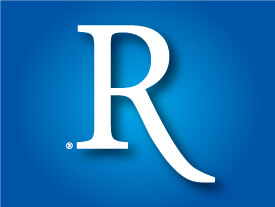 White letter R on blue background