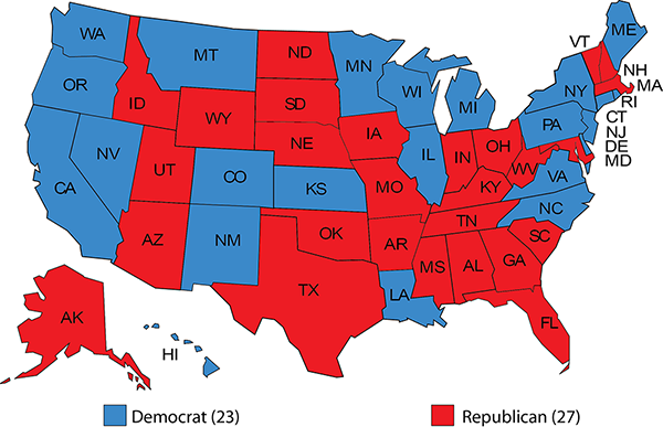 Democrat Republican Map Governors 2019 2020: Democrats Try to Hold the Line in Red State