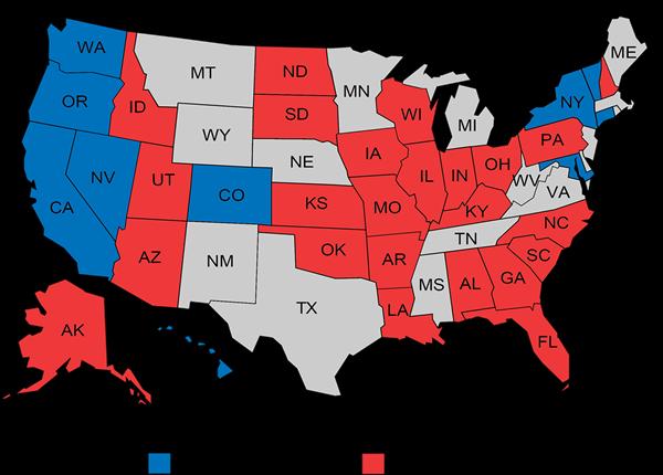 Image result for democrat vs republican map 2016
