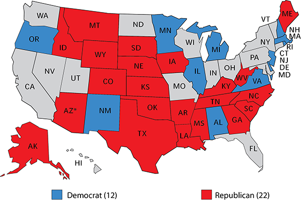 Map 1 2020 Senate Races Shaded By Current Party Control