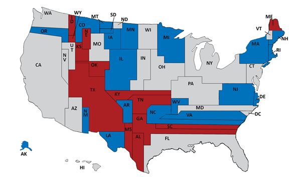 This Map Shows The 2014 Senate Races In Blue And Red With The States Sized According To Their Population And Colored Based On Their Current Occupant