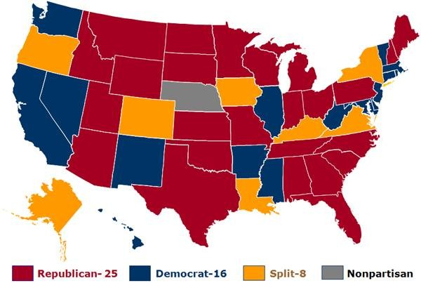 Our Continuing Focus On State Legislatures Rasmussen Reports - Governor's in us by state map party affiliation