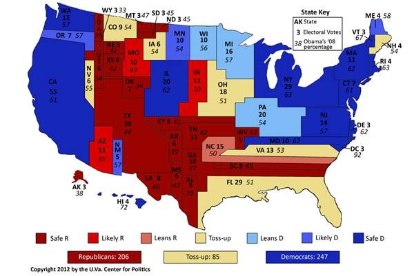 Tight National Race Freezes Electoral College Map Rasmussen Reports - Electoral college us map