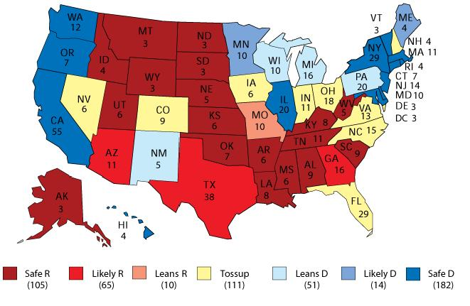 2016 Election Political Map.The Map The Crystal Ball S First 2011 Take On 2012 S Electoral