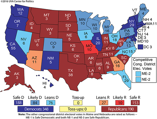 Clintons Electoral College Lead Regenerates Rasmussen Reports - Us 2016 Election Map District